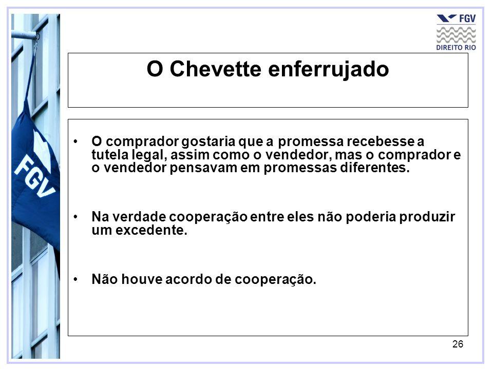 26 O Chevette enferrujado O comprador gostaria que a promessa recebesse a tutela legal, assim como o vendedor, mas o comprador e o vendedor pensavam e