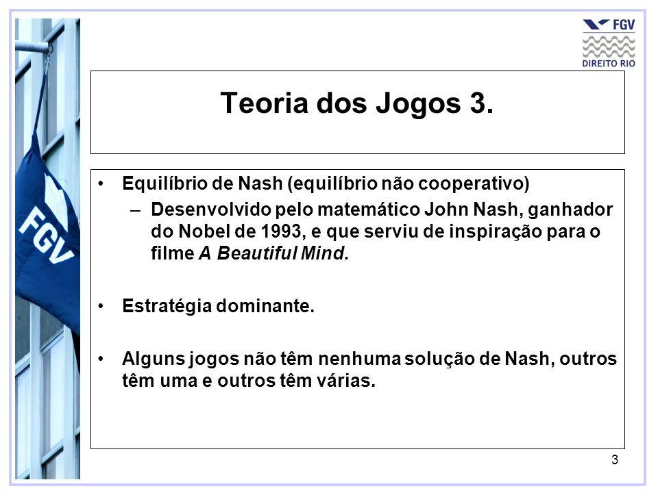 3 Teoria dos Jogos 3. Equilíbrio de Nash (equilíbrio não cooperativo) –Desenvolvido pelo matemático John Nash, ganhador do Nobel de 1993, e que serviu