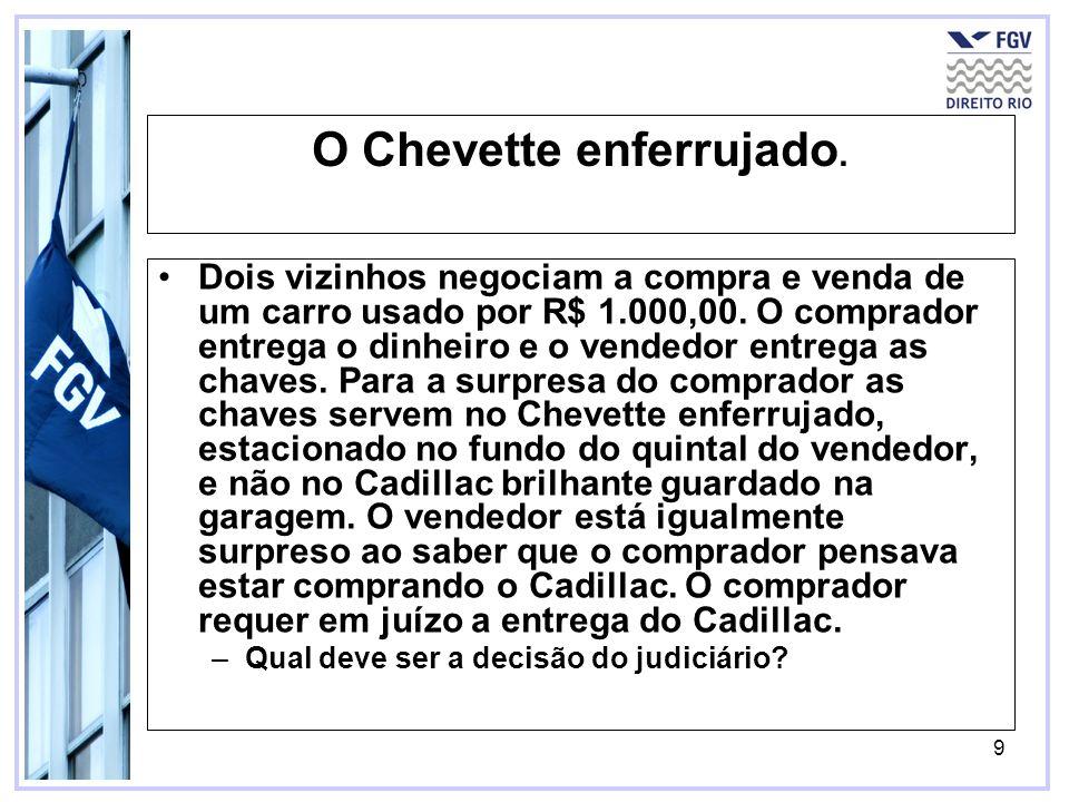 9 O Chevette enferrujado. Dois vizinhos negociam a compra e venda de um carro usado por R$ 1.000,00. O comprador entrega o dinheiro e o vendedor entre