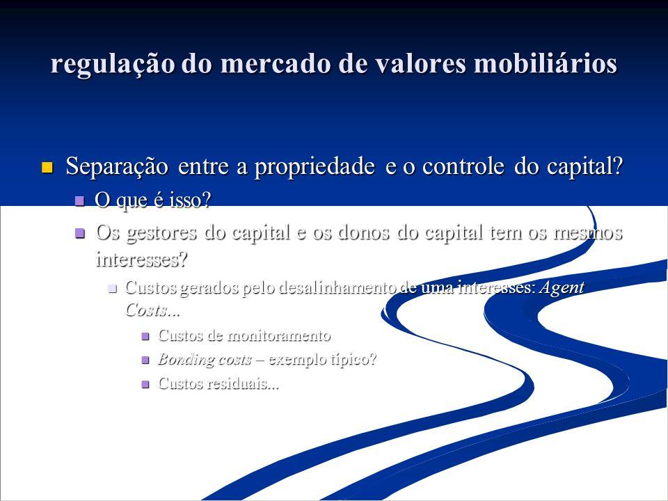 regulação do mercado de valores mobiliários Separação entre a propriedade e o controle do capital.