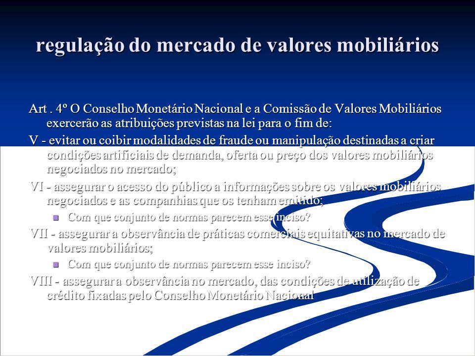 regulação do mercado de valores mobiliários Art.