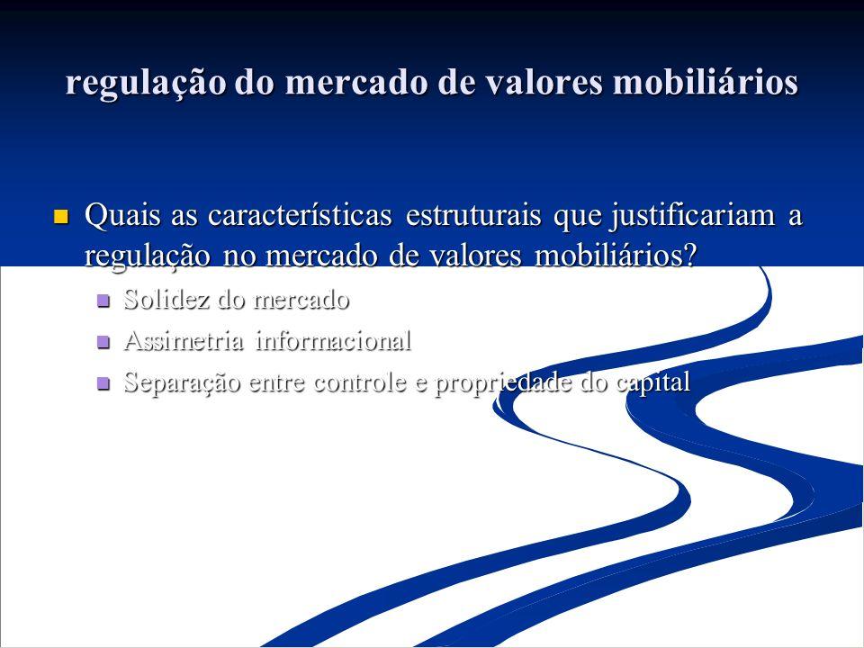 regulação do mercado de valores mobiliários Quais as características estruturais que justificariam a regulação no mercado de valores mobiliários.