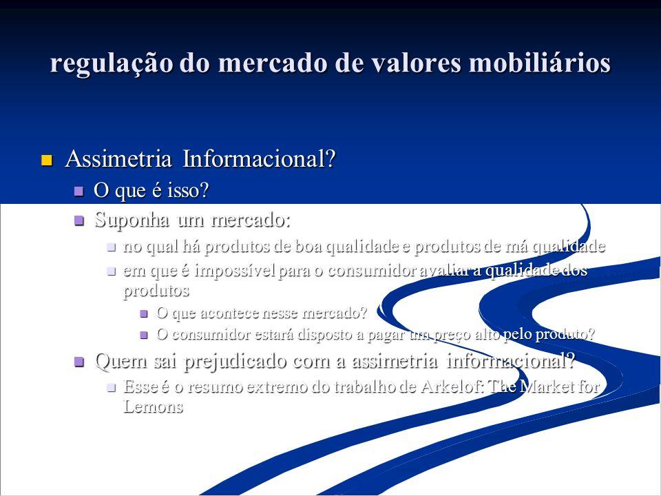 regulação do mercado de valores mobiliários Assimetria Informacional.