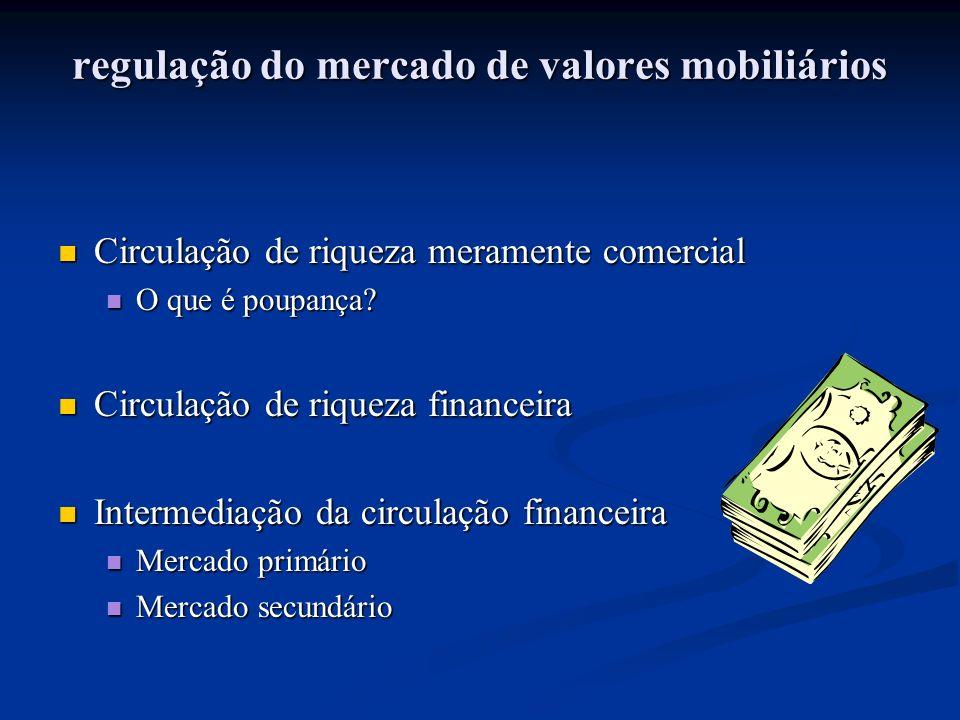 regulação do mercado de valores mobiliários Circulação de riqueza meramente comercial Circulação de riqueza meramente comercial O que é poupança.