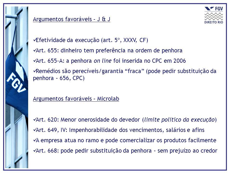 Argumentos favoráveis – J & J Efetividade da execução (art. 5º, XXXV, CF) Art. 655: dinheiro tem preferência na ordem de penhora Art. 655-A: a penhora