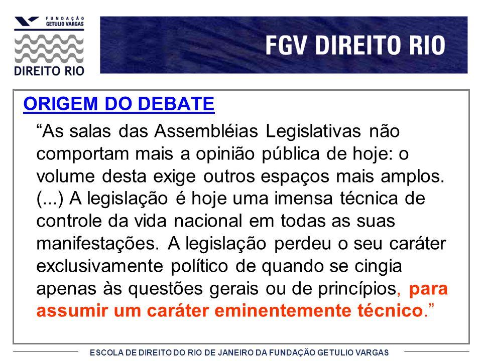 ESCOLA DE DIREITO DO RIO DE JANEIRO DA FUNDAÇÃO GETULIO VARGAS ORIGEM DO DEBATE As salas das Assembléias Legislativas não comportam mais a opinião púb