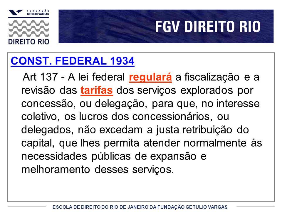 ESCOLA DE DIREITO DO RIO DE JANEIRO DA FUNDAÇÃO GETULIO VARGAS CONST. FEDERAL 1934 Art 137 - A lei federal regulará a fiscalização e a revisão das tar