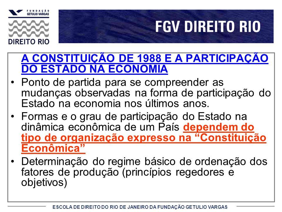 ESCOLA DE DIREITO DO RIO DE JANEIRO DA FUNDAÇÃO GETULIO VARGAS A CONSTITUIÇÃO DE 1988 E A PARTICIPAÇÃO DO ESTADO NA ECONOMIA Ponto de partida para se