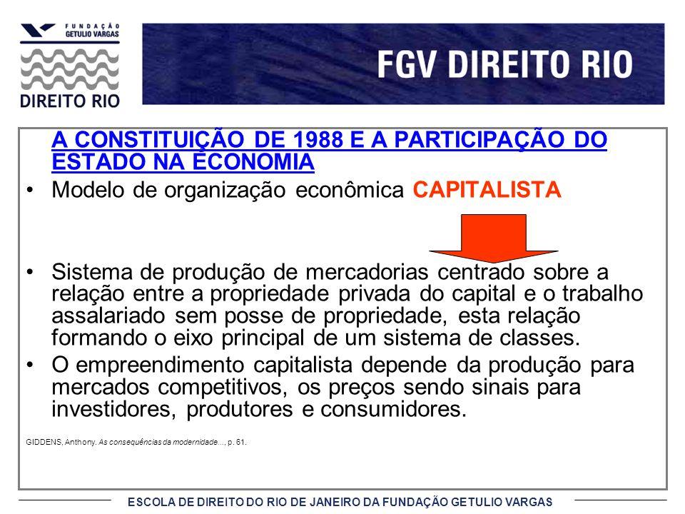 ESCOLA DE DIREITO DO RIO DE JANEIRO DA FUNDAÇÃO GETULIO VARGAS A CONSTITUIÇÃO DE 1988 E A PARTICIPAÇÃO DO ESTADO NA ECONOMIA Modelo de organização eco