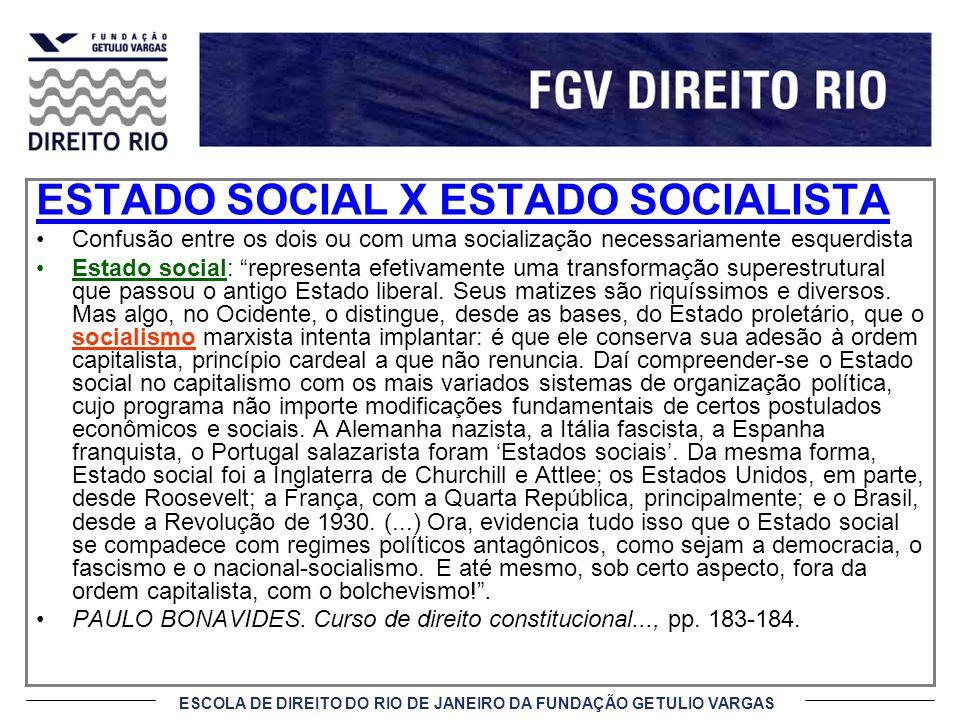 ESCOLA DE DIREITO DO RIO DE JANEIRO DA FUNDAÇÃO GETULIO VARGAS ESTADO SOCIAL X ESTADO SOCIALISTA Confusão entre os dois ou com uma socialização necess