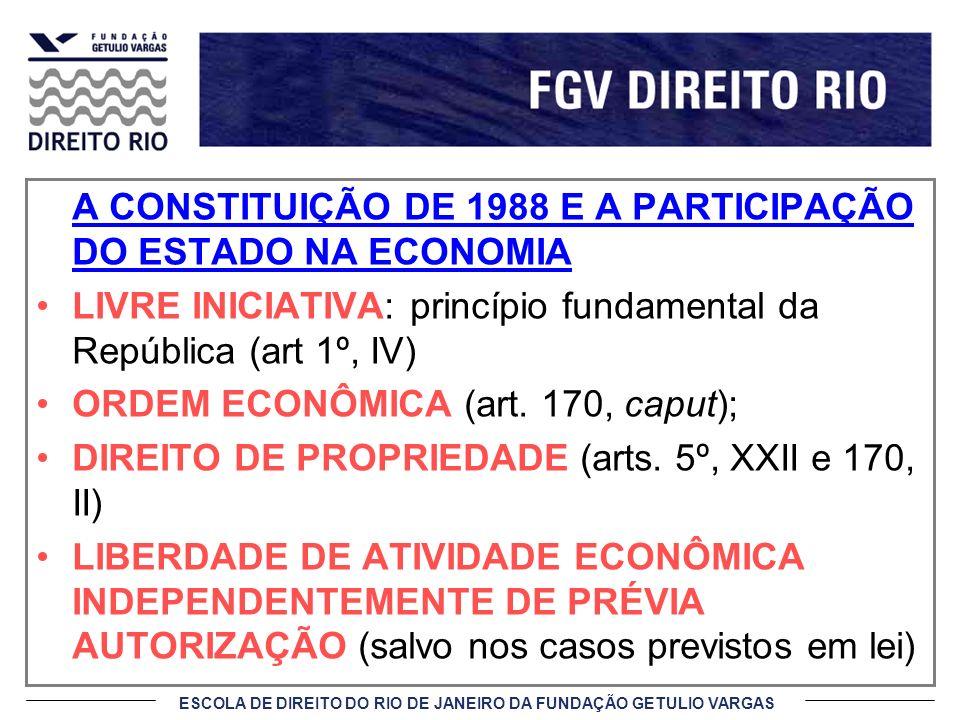 ESCOLA DE DIREITO DO RIO DE JANEIRO DA FUNDAÇÃO GETULIO VARGAS A CONSTITUIÇÃO DE 1988 E A PARTICIPAÇÃO DO ESTADO NA ECONOMIA LIVRE INICIATIVA: princíp