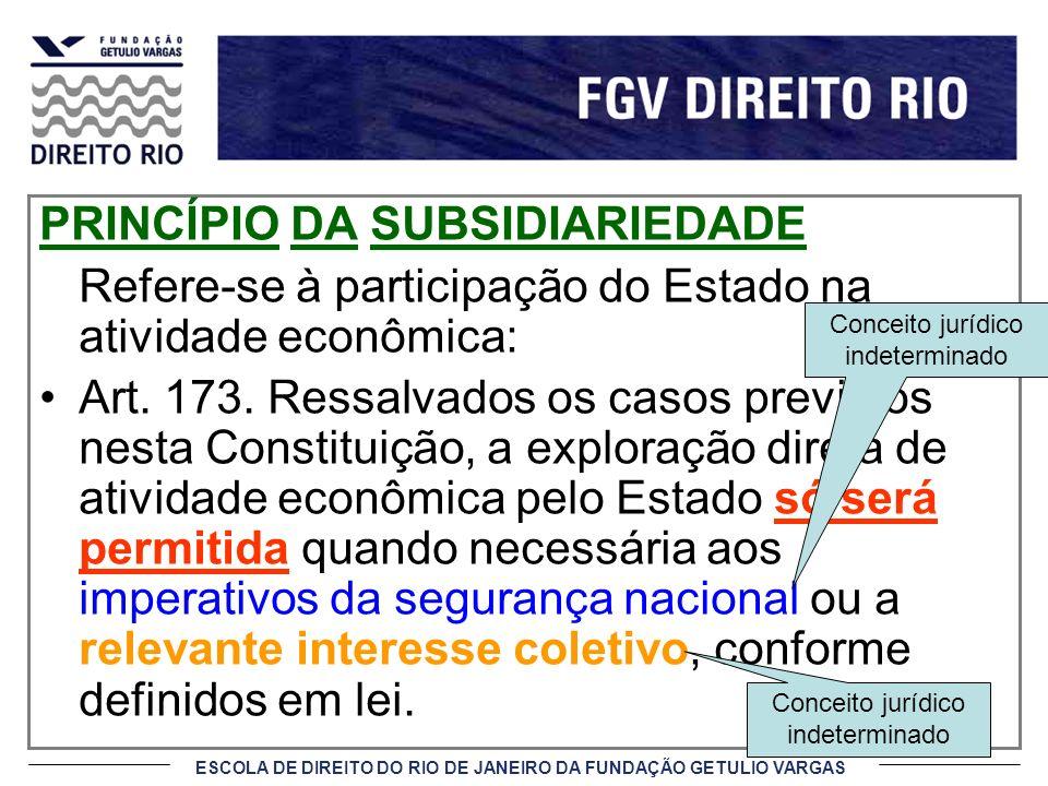 ESCOLA DE DIREITO DO RIO DE JANEIRO DA FUNDAÇÃO GETULIO VARGAS PRINCÍPIO DA SUBSIDIARIEDADE Refere-se à participação do Estado na atividade econômica: