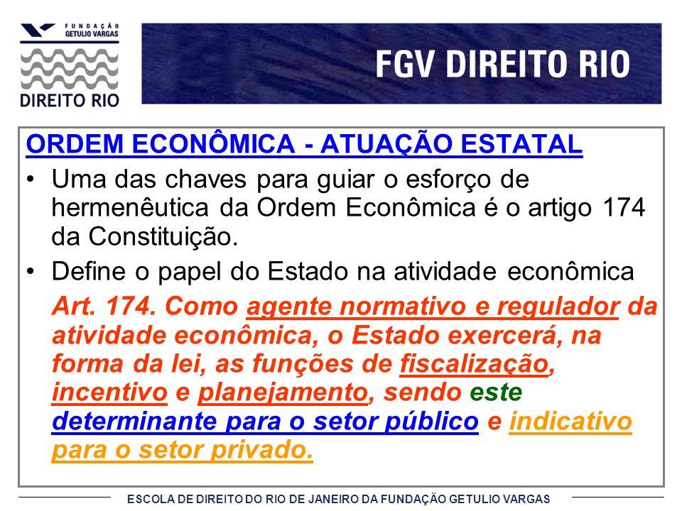 ESCOLA DE DIREITO DO RIO DE JANEIRO DA FUNDAÇÃO GETULIO VARGAS ORDEM ECONÔMICA - ATUAÇÃO ESTATAL Uma das chaves para guiar o esforço de hermenêutica d