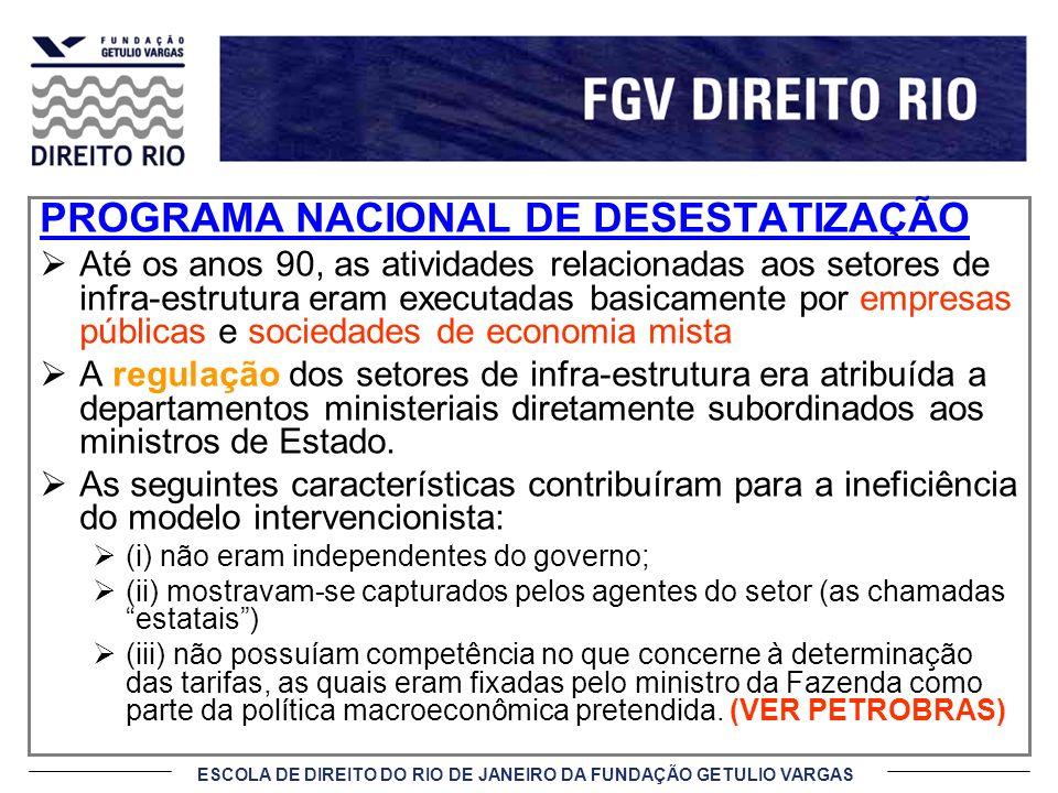 ESCOLA DE DIREITO DO RIO DE JANEIRO DA FUNDAÇÃO GETULIO VARGAS PROGRAMA NACIONAL DE DESESTATIZAÇÃO Até os anos 90, as atividades relacionadas aos seto