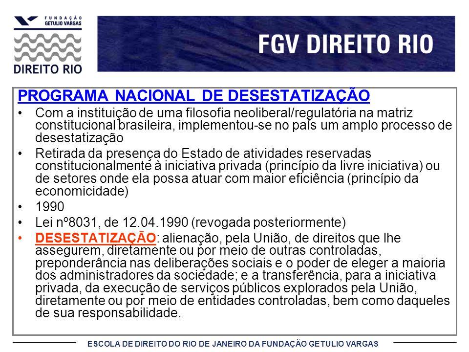 ESCOLA DE DIREITO DO RIO DE JANEIRO DA FUNDAÇÃO GETULIO VARGAS PROGRAMA NACIONAL DE DESESTATIZAÇÃO Com a instituição de uma filosofia neoliberal/regul
