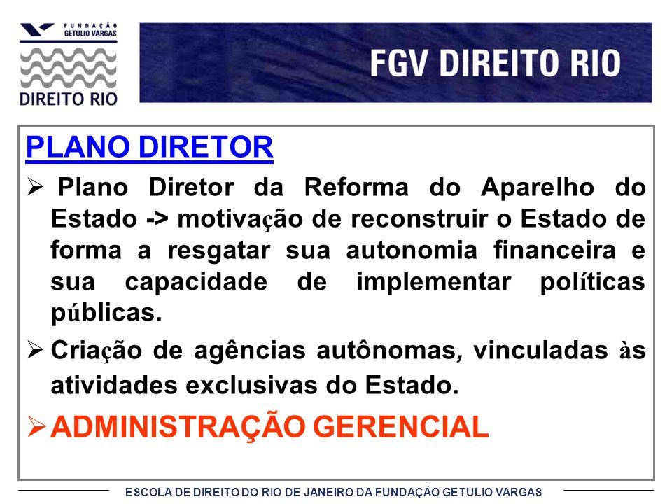 ESCOLA DE DIREITO DO RIO DE JANEIRO DA FUNDAÇÃO GETULIO VARGAS PLANO DIRETOR Plano Diretor da Reforma do Aparelho do Estado -> motiva ç ão de reconstr
