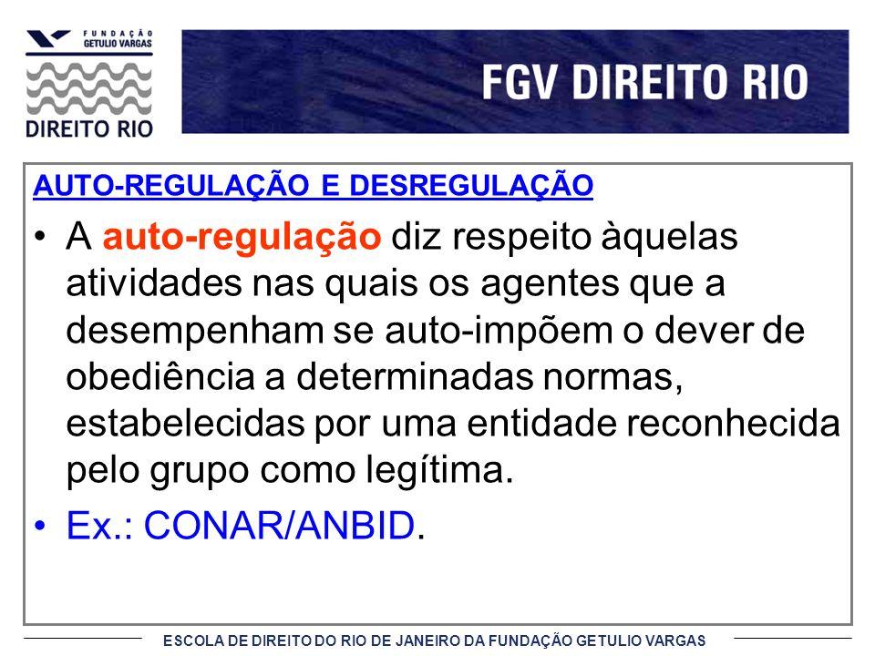 ESCOLA DE DIREITO DO RIO DE JANEIRO DA FUNDAÇÃO GETULIO VARGAS AUTO-REGULAÇÃO E DESREGULAÇÃO A auto-regulação diz respeito àquelas atividades nas quai