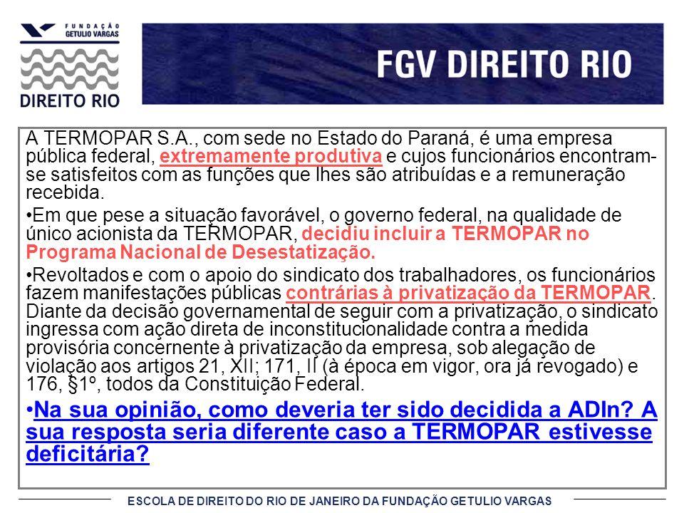 A TERMOPAR S.A., com sede no Estado do Paraná, é uma empresa pública federal, extremamente produtiva e cujos funcionários encontram- se satisfeitos co