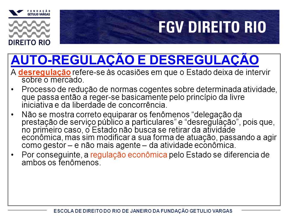 ESCOLA DE DIREITO DO RIO DE JANEIRO DA FUNDAÇÃO GETULIO VARGAS AUTO-REGULAÇÃO E DESREGULAÇÃO A desregulação refere-se às ocasiões em que o Estado deix