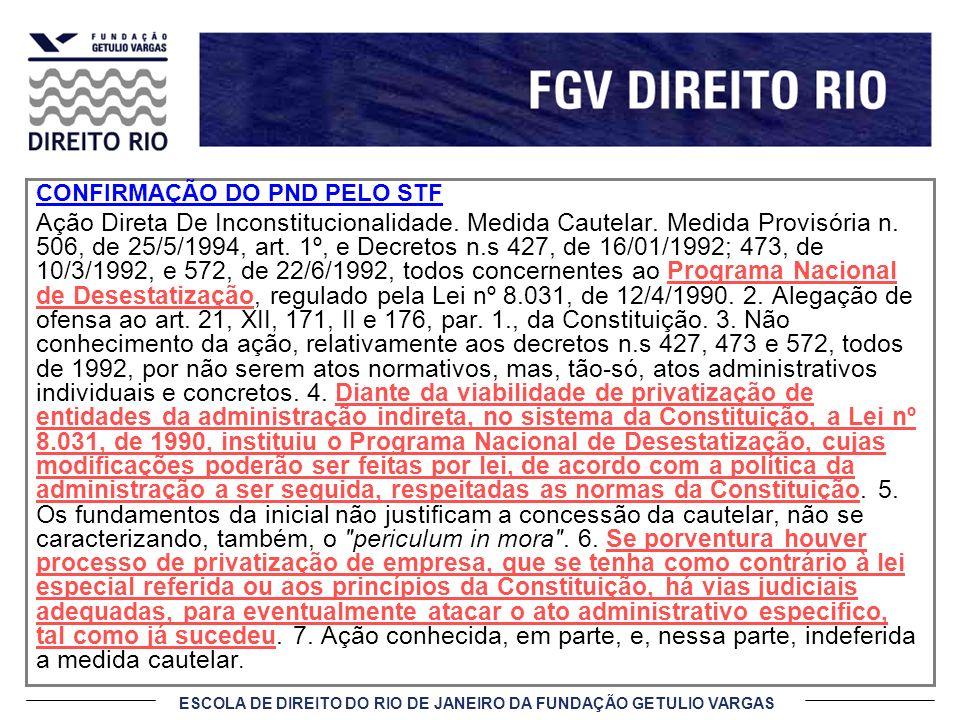 ESCOLA DE DIREITO DO RIO DE JANEIRO DA FUNDAÇÃO GETULIO VARGAS CONFIRMAÇÃO DO PND PELO STF Ação Direta De Inconstitucionalidade. Medida Cautelar. Medi