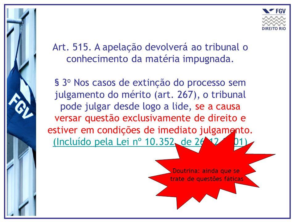 Art. 515. A apelação devolverá ao tribunal o conhecimento da matéria impugnada.