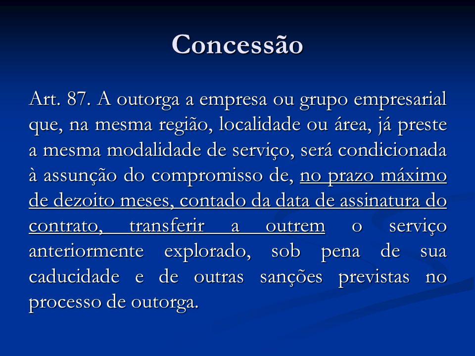 Concessão Art. 87. A outorga a empresa ou grupo empresarial que, na mesma região, localidade ou área, já preste a mesma modalidade de serviço, será co