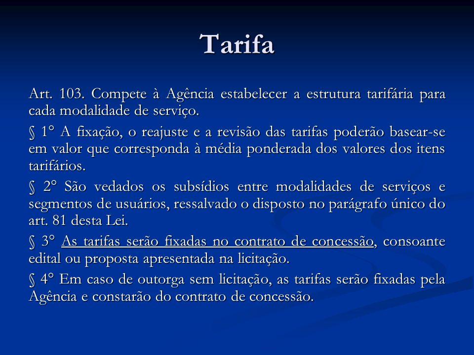Tarifa Art. 103. Compete à Agência estabelecer a estrutura tarifária para cada modalidade de serviço. § 1° A fixação, o reajuste e a revisão das tarif