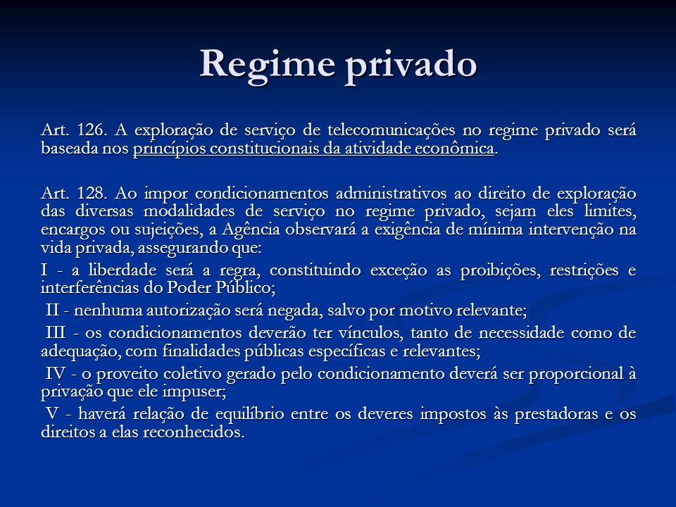 Regime privado Art. 126. A exploração de serviço de telecomunicações no regime privado será baseada nos princípios constitucionais da atividade econôm