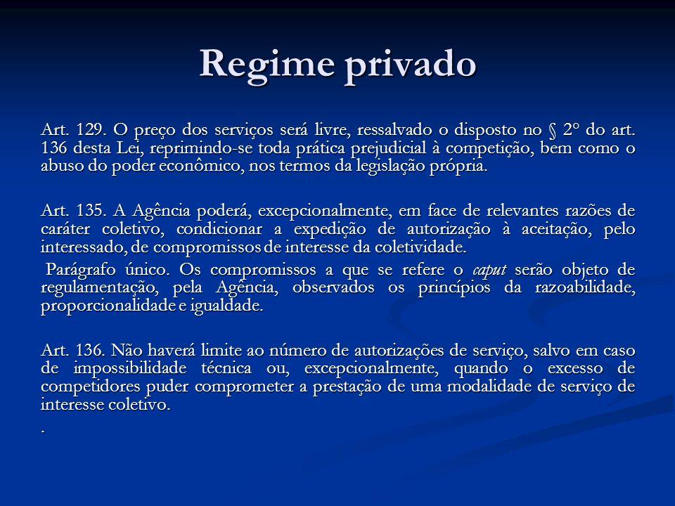 Regime privado Art. 129. O preço dos serviços será livre, ressalvado o disposto no § 2° do art. 136 desta Lei, reprimindo-se toda prática prejudicial