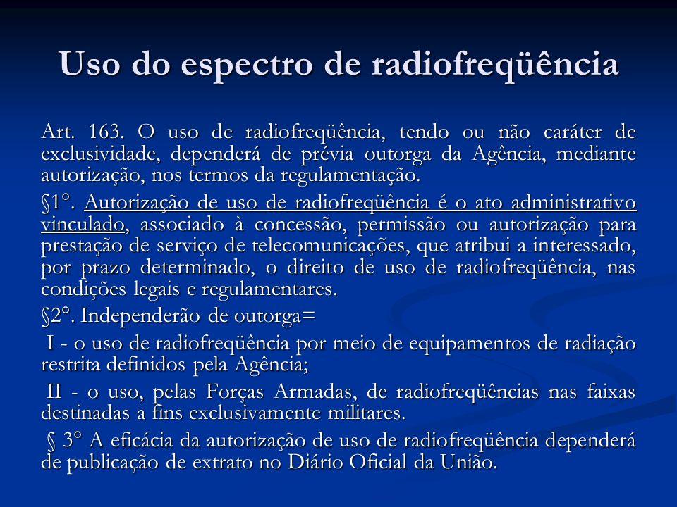 Uso do espectro de radiofreqüência Art. 163. O uso de radiofreqüência, tendo ou não caráter de exclusividade, dependerá de prévia outorga da Agência,