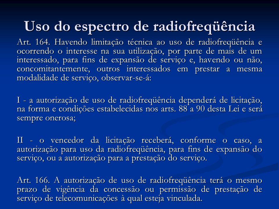 Uso do espectro de radiofreqüência Art. 164. Havendo limitação técnica ao uso de radiofreqüência e ocorrendo o interesse na sua utilização, por parte
