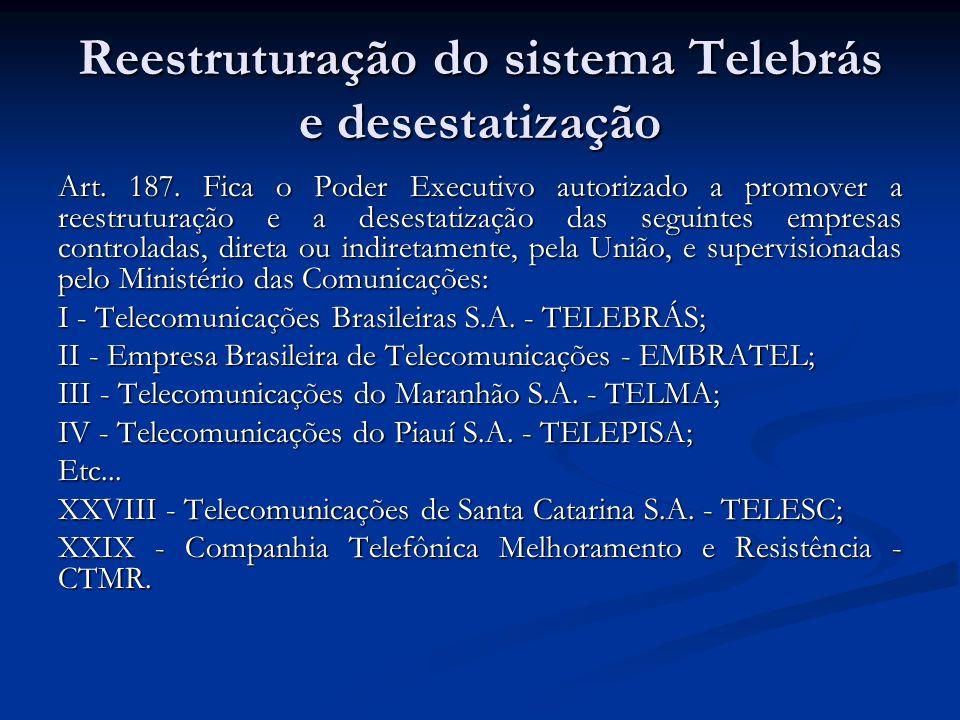 Reestruturação do sistema Telebrás e desestatização Art. 187. Fica o Poder Executivo autorizado a promover a reestruturação e a desestatização das seg