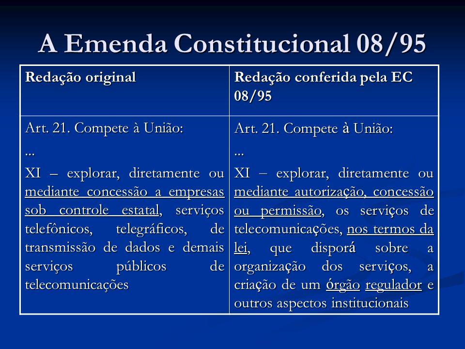 A Emenda Constitucional 08/95 Redação original Redação conferida pela EC 08/95 Art. 21. Compete à União:... XI – explorar, diretamente ou mediante con