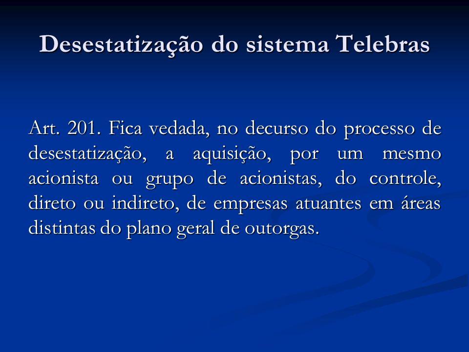 Desestatização do sistema Telebras Art. 201. Fica vedada, no decurso do processo de desestatização, a aquisição, por um mesmo acionista ou grupo de ac