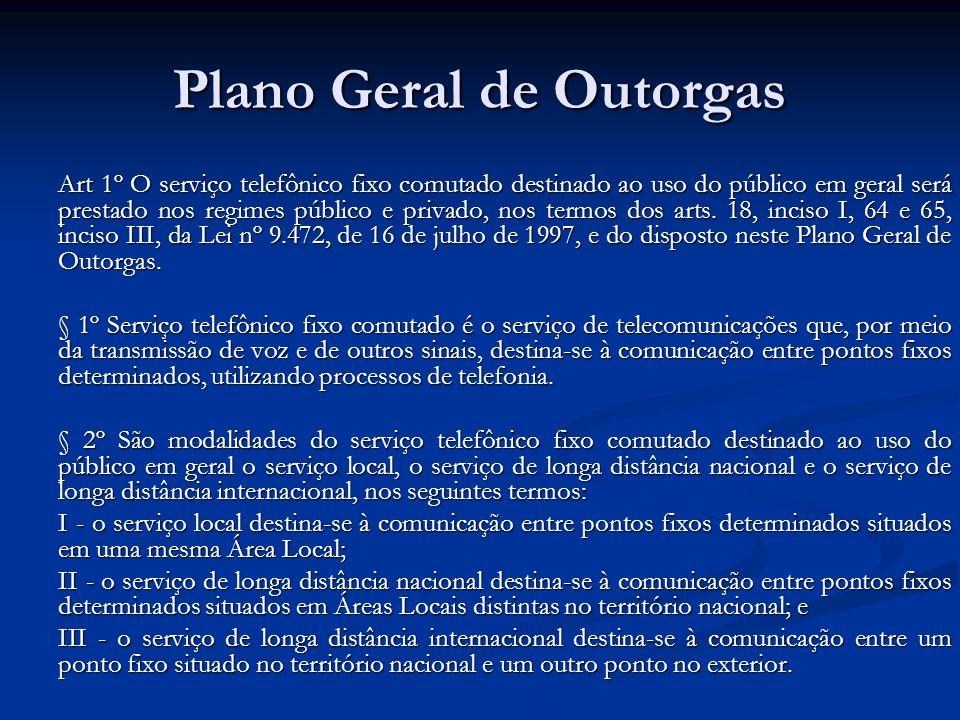 Plano Geral de Outorgas Art 1º O serviço telefônico fixo comutado destinado ao uso do público em geral será prestado nos regimes público e privado, no