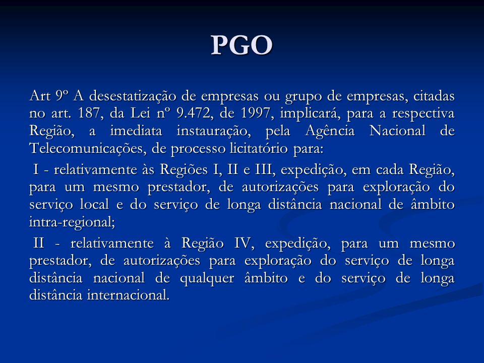 PGO Art 9º A desestatização de empresas ou grupo de empresas, citadas no art. 187, da Lei nº 9.472, de 1997, implicará, para a respectiva Região, a im