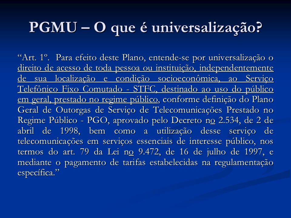 PGMU – O que é universalização? Art. 1º. Para efeito deste Plano, entende-se por universalização o direito de acesso de toda pessoa ou instituição, in