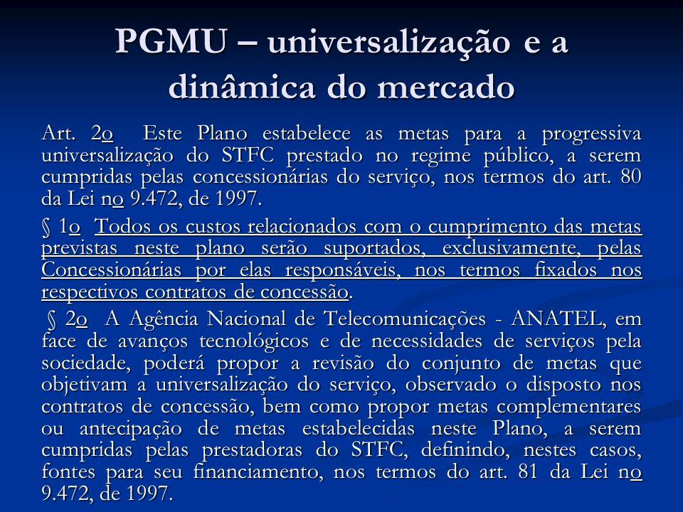 PGMU – universalização e a dinâmica do mercado Art. 2o Este Plano estabelece as metas para a progressiva universalização do STFC prestado no regime pú