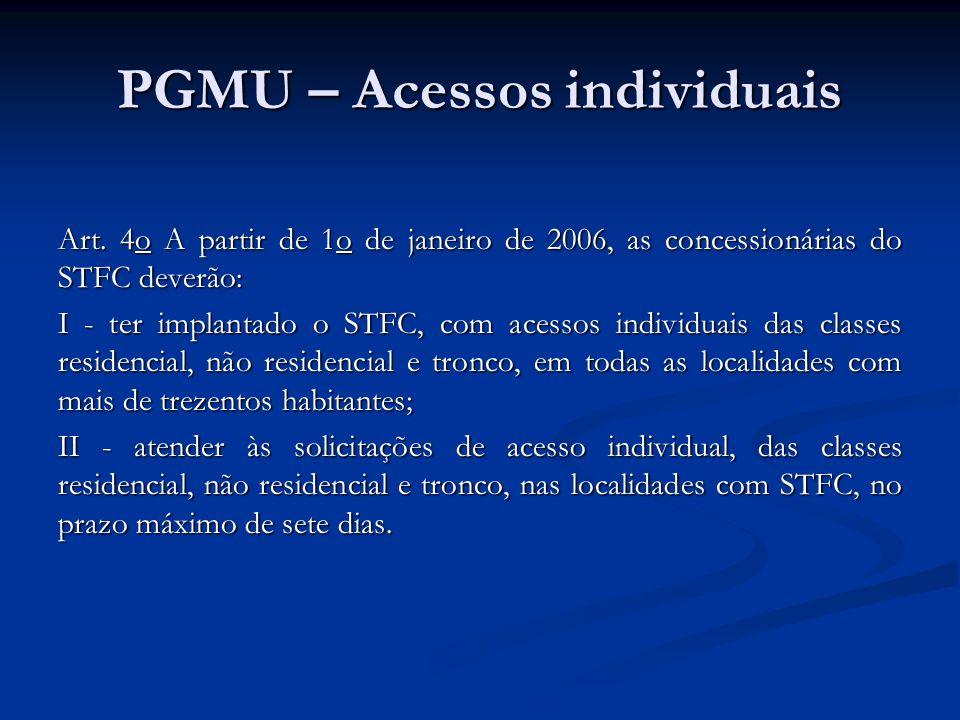 PGMU – Acessos individuais Art. 4o A partir de 1o de janeiro de 2006, as concessionárias do STFC deverão: I - ter implantado o STFC, com acessos indiv