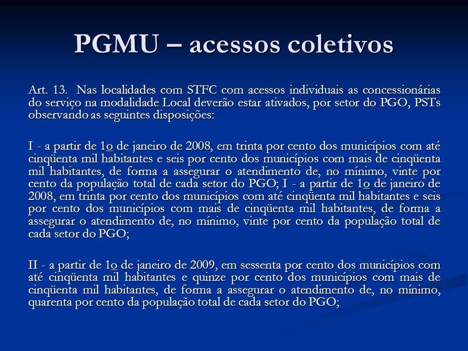 PGMU – acessos coletivos Art. 13. Nas localidades com STFC com acessos individuais as concessionárias do serviço na modalidade Local deverão estar ati