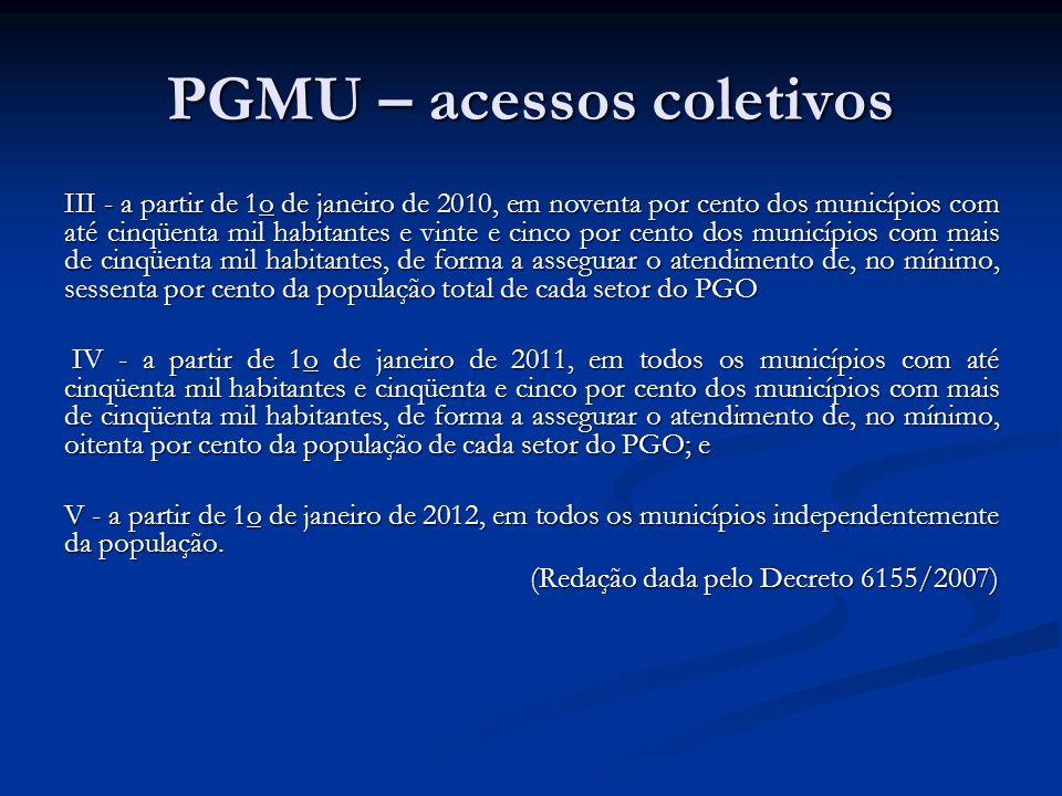 PGMU – acessos coletivos III - a partir de 1o de janeiro de 2010, em noventa por cento dos municípios com até cinqüenta mil habitantes e vinte e cinco