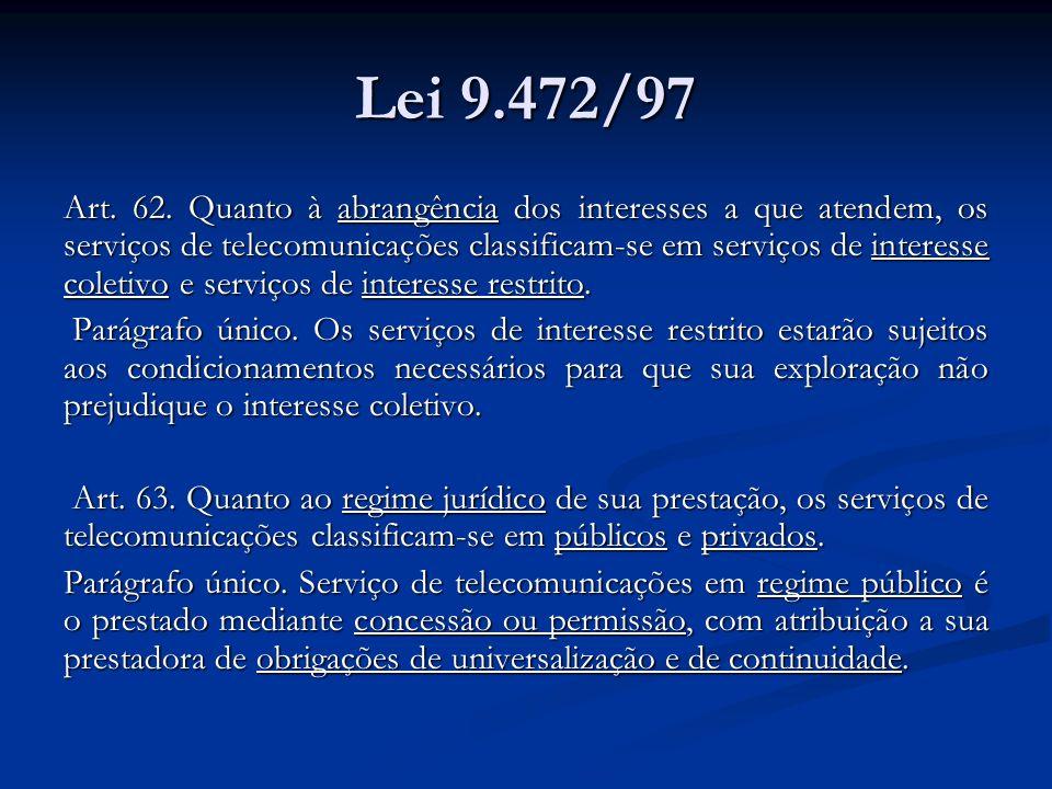Lei 9.472/97 Art. 62. Quanto à abrangência dos interesses a que atendem, os serviços de telecomunicações classificam-se em serviços de interesse colet