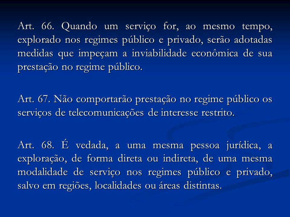 Art. 66. Quando um serviço for, ao mesmo tempo, explorado nos regimes público e privado, serão adotadas medidas que impeçam a inviabilidade econômica
