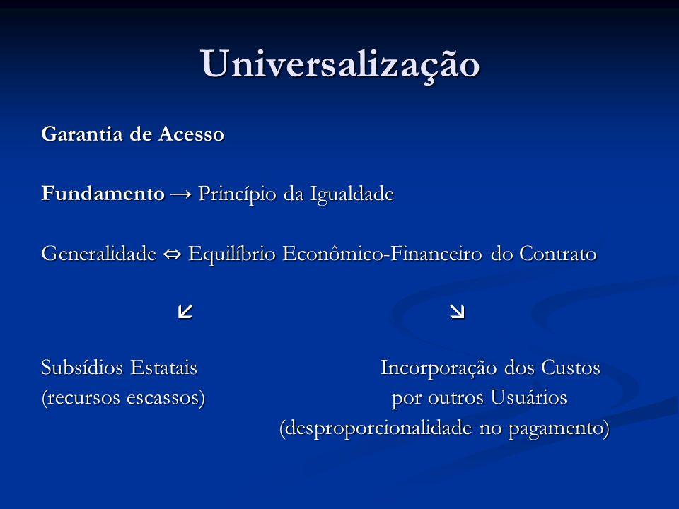 Universalização Garantia de Acesso Fundamento Princípio da Igualdade Generalidade Equilíbrio Econômico-Financeiro do Contrato Subsídios EstataisIncorp