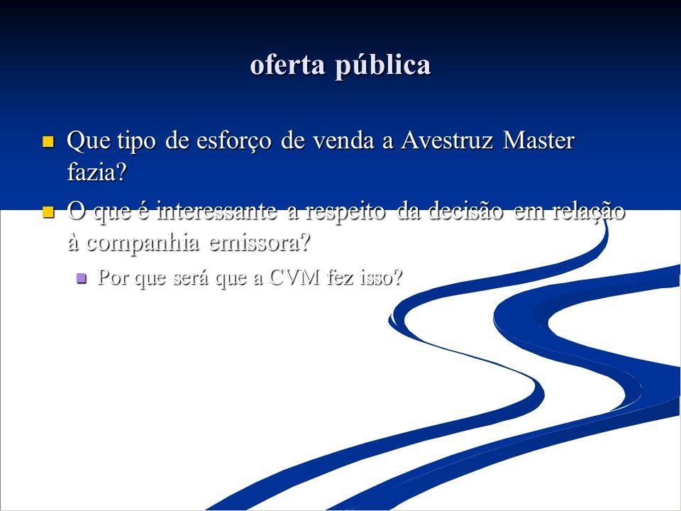 oferta pública Que tipo de esforço de venda a Avestruz Master fazia? Que tipo de esforço de venda a Avestruz Master fazia? O que é interessante a resp