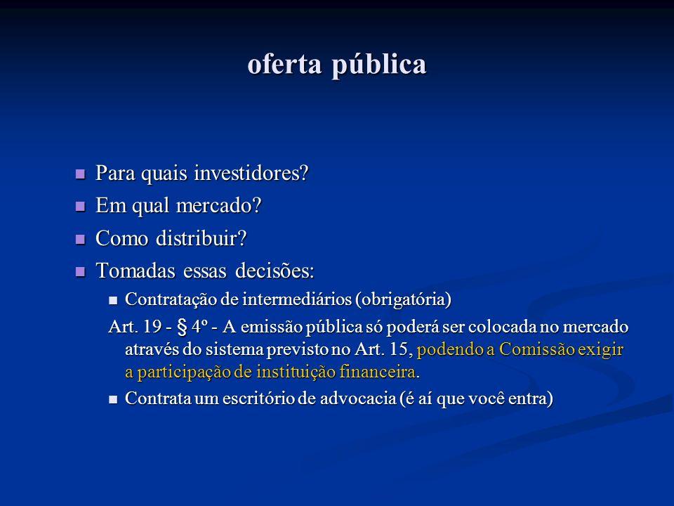 oferta pública Para quais investidores? Para quais investidores? Em qual mercado? Em qual mercado? Como distribuir? Como distribuir? Tomadas essas dec