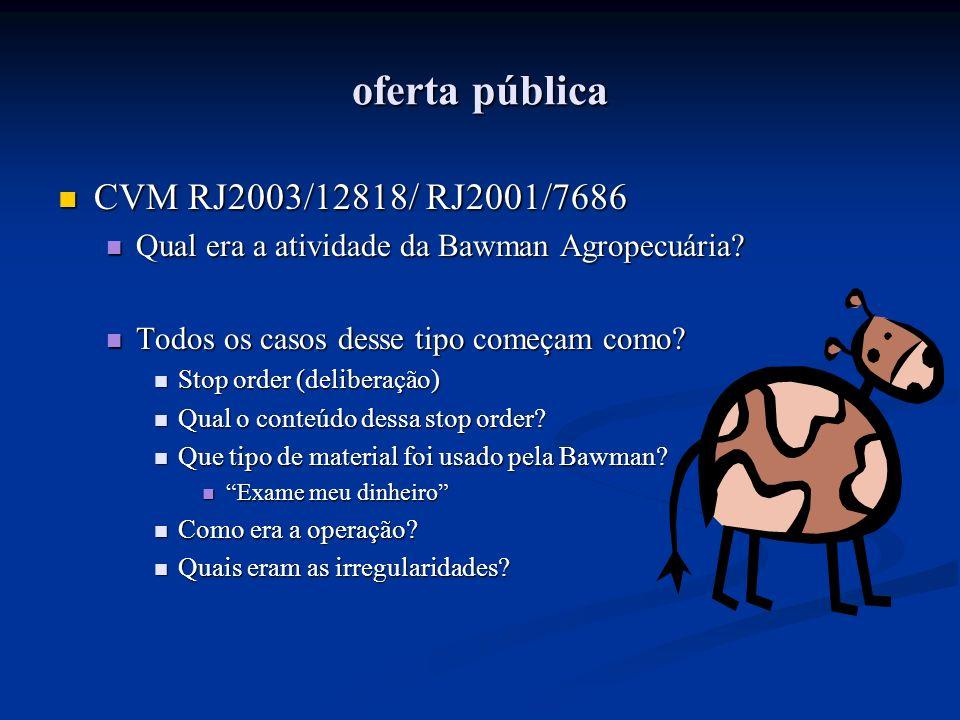 oferta pública CVM RJ2003/12818/ RJ2001/7686 CVM RJ2003/12818/ RJ2001/7686 Qual era a atividade da Bawman Agropecuária? Qual era a atividade da Bawman