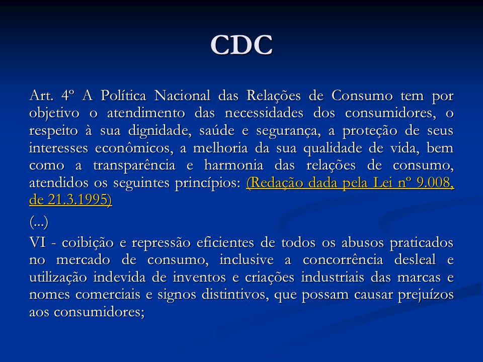CDC Art. 4º A Política Nacional das Relações de Consumo tem por objetivo o atendimento das necessidades dos consumidores, o respeito à sua dignidade,