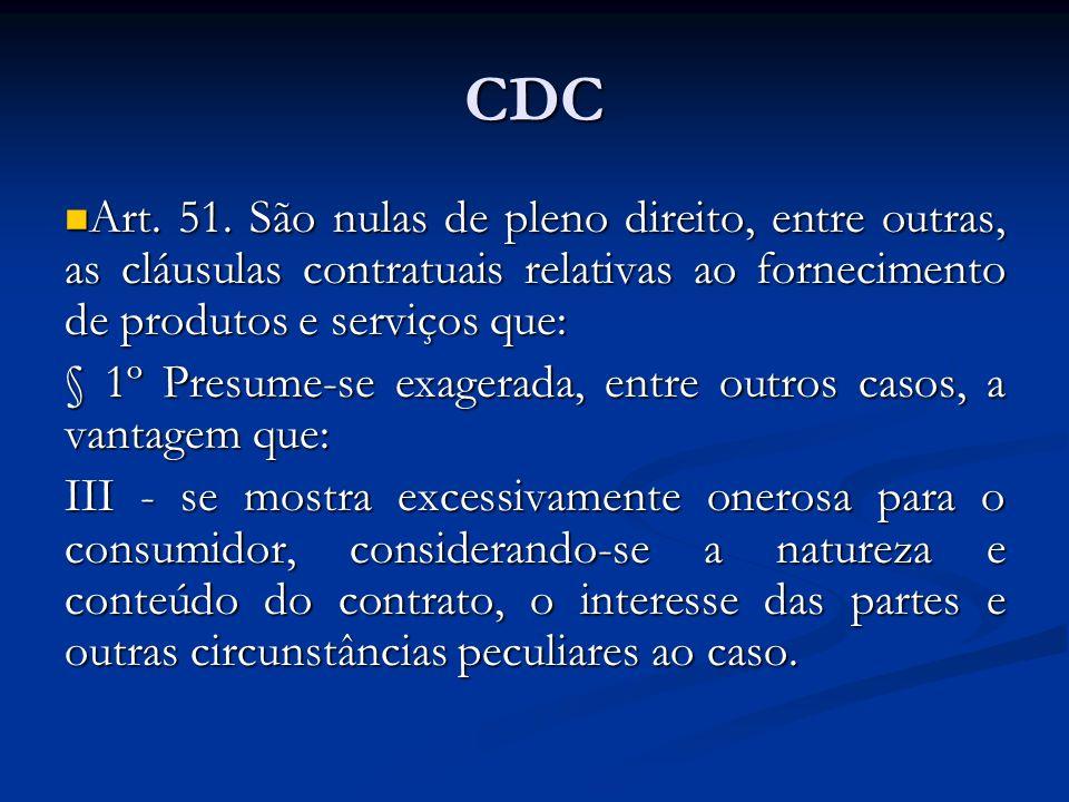 CDC Art. 51. São nulas de pleno direito, entre outras, as cláusulas contratuais relativas ao fornecimento de produtos e serviços que: Art. 51. São nul