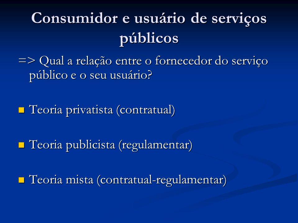 Consumidor e usuário de serviços públicos => Qual a relação entre o fornecedor do serviço público e o seu usuário? Teoria privatista (contratual) Teor